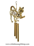 Gold Crouching Cat with Crystals chime Ornament
