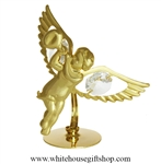 Gold Cherub with Trumpet Table Top Display with Swarovski® Crystals