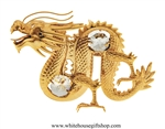 Gold Chinese Dragon Ornament with Swarovski® Crystals