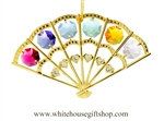 Gold Colored Folding Hand Fan Ornament with Rose, Mint Green, Violet, Sky Blue, Golden Yellow & Clear Swarovski® Crystals