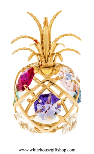 Gold Colored Pineapple Ornament with Sky Blue, Rose, Mint Green, Violet, Light Pink, Clear, & Golden Yellow Swarovski Crystals