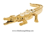 Gold Salt Water Crocodile Ornament with Swarovski® Crystals