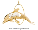 Gold Mini Bottle Nosed Dolphin Circle Ornament with Swarovski® Crystals
