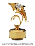 Gold Playful Dolphin With Waves Music Box with Swarovski® Crystals