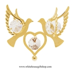 Gold Doves Holding A Heart Ornament with Swarovski Crystals