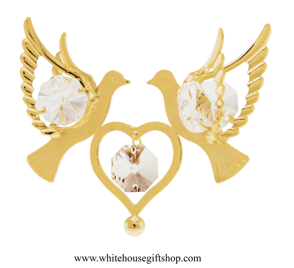 Ornament Gold Love Doves Holding A Heart Ornament