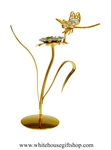 Gold Dragonfly on a Jeweled Flower Table Top Display with Swarovski Crystals