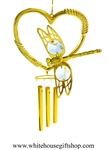 Gold Dragonfly Heart Chime Ornament with Swarovski® Crystals