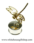 Gold Mini Dragonfly Jewelry Box with Swarovski® Crystals