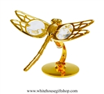 Gold Dragonfly Table Top Display with Swarovski Crystals