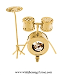 Gold Drum Set Table Top Display with Swarovski Crystals