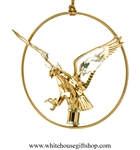 Gold American Eagle Circle Ornament with Swarovski® Crystals