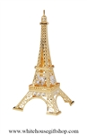 Gold Eiffel Tower Ornament with Swarovski® Crystals