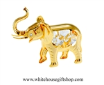 Gold Elephant With Raised Trunk Ornament
