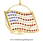 Gold Mini American Flag Circle Ornament with Red, White, Blue Swarovski Crystals