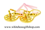 Gold Flip Flop Ornament with Swarovski® Crystals