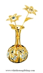 Gold Jeweled Flowers in Vase Table Top Display with Swarovski Crystals