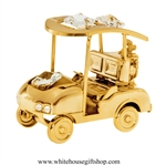 Gold Golf Cart with Clubs Ornament with Swarovski® Crystals