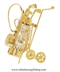 Gold Golf Clubs in Bag Ornament with Swarovski® Crystals