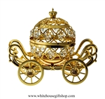 Gold Grand Pumpkin Coach Carriage Table Top Display with Swarovski Crystals
