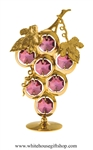 Gold Bunch of Grapes Table Top Display with Amethyst Swarovski Crystals