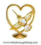 Gold Mini Hummingbird Heart Table Top Display with Swarovski® Crystals