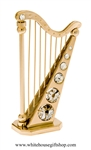 Gold Classic Harp Instrument Desk Model with Swarovski® Crystals