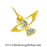 Gold Mini Hummingbird Magnet/ Sun Catcher Window Cling with Swarovski® Crystals