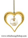 Gold Heart Crystal Ornament
