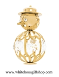 Gold Holiday Snowman Ornament