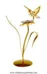 Gold Hummingbird on a Jeweled Flower Table Top Display with Swarovski Crystals