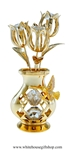 Gold Hummingbird Vase of Tulips Table Top Display with Swarovski Crystals