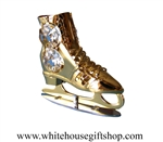 Gold Ice Skate Ornament with Swarovski® Crystals