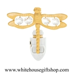 Gold Dragonfly Nightlight with Swarovski® Crystals
