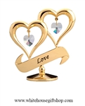 Gold LOVE Heart Duo Table Top Display with Swarovski Crystals