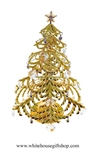 Gold Large Christmas Table Top Display with Swarovski Crystals & Bells