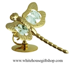 Gold Large Dragonfly Table Top Display with Swarovski® Crystals