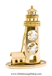 Gold Lighthouse & Cottage Ornament with Swarovski® Crystals