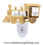 Gold Classic Steam Locomotive Nightlight with Swarovski® Crystals