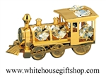 Gold Classic Steam Locomotive Ornament Swarovski Crystals