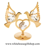 Gold Love Doves & Heart Table Top Display with Swarovski® Crystals