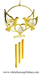 Crystal Gold Love Doves Holding a Heart chime Ornament with Swarovski® Crystals