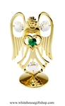 Gold Guardian Angel Birthstone Collection: May with Emerald Green Colored & Clear Swarovski® Crystals