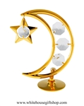 Gold Crescent Moon & Star Table Top Display with Swarovski® Crystals