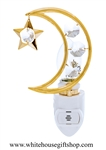 Gold Crescent Moon & Star Nightlight with Swarovski® Crystals