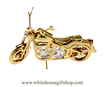 Gold Classic Motorcycle Ornament with Swarovski® Crystals