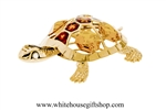 Gold Eastern Painted Turtle Ornament with Amber Swarovski Crystals