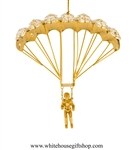 Gold Parachute Jumper Ornament with Swarovski Crystals