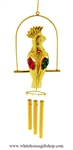 Crystal Gold Parrot chime Ornament with Ruby Red and Emerald Green Swarovski® Crystals