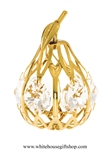 Gold Mini Pear Ornament with Swarovski Crystals